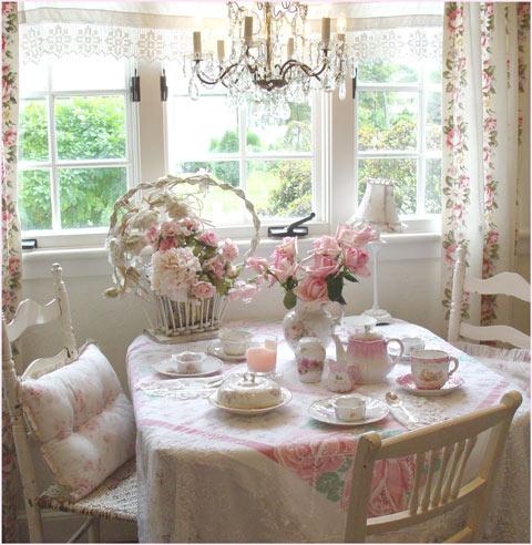 chá da tarde mesa vintage